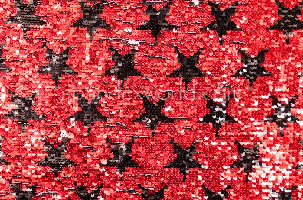 Reversible  Star Sequins (Black/White/Red)