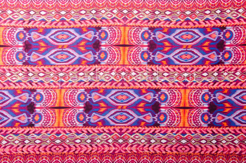 Aztec Print Spandex (Orange/Blue/Multi)