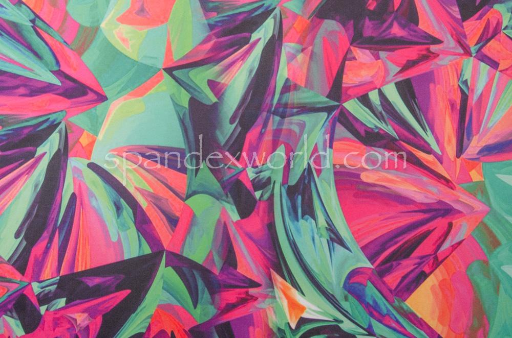 Abstract Print Spandex (Green/Fuchsia/Multi)