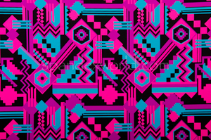 Aztec Print Spandex (Fuchsia/Blue/Multi)