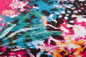 Abstract Print  Spandex (Fuchsia/Yellow/Multi)