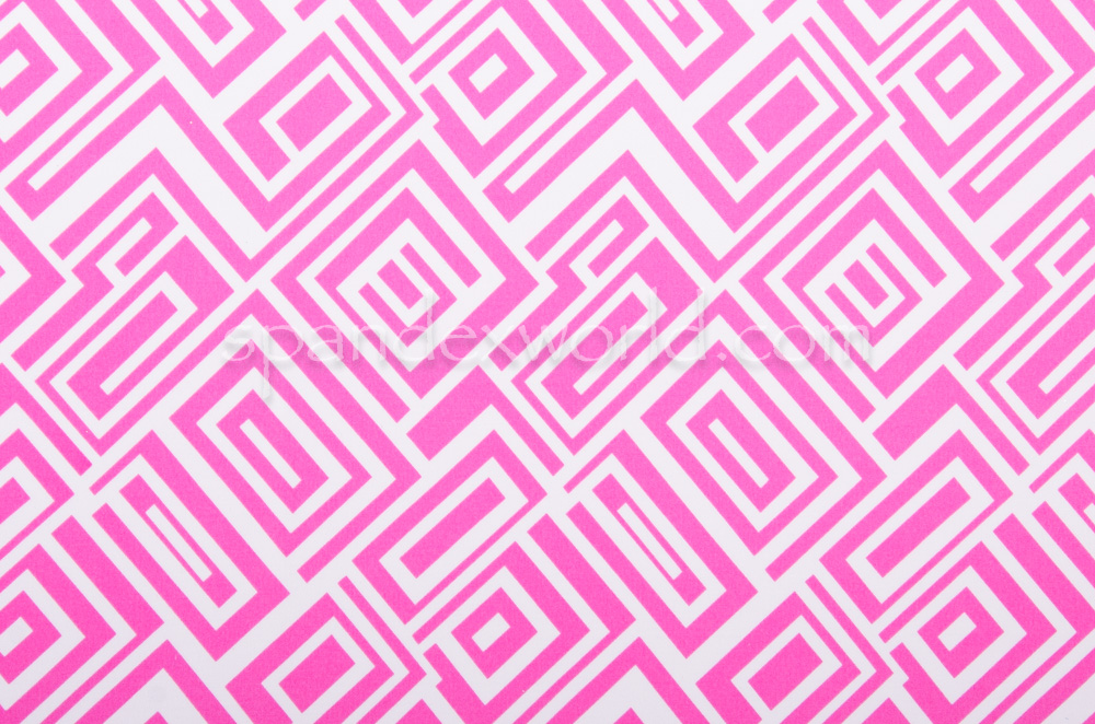 Abstract Print  Spandex (White/Pink)