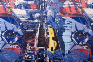 Abstract Print  Spandex (Blue/Black/Multi)