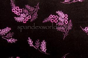 Glitter/Pattern Stretch Velvet (Black/Fuchsia)