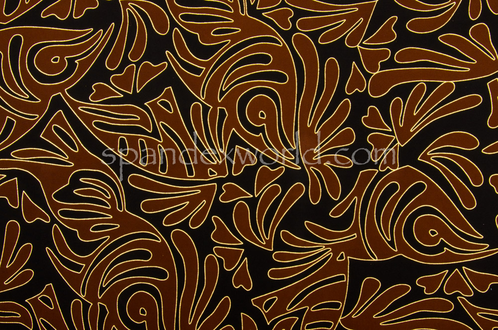 Abstract Print  Spandex (Brown/Gold/Multi)