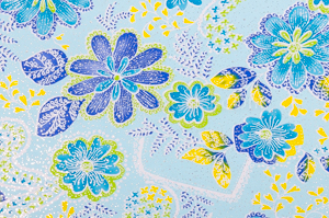 Metalic Floral Print (Blue/Yellow/Multi)