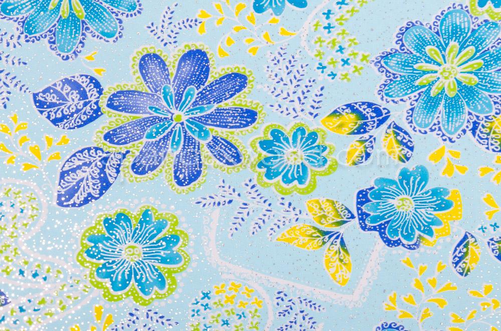 Metalic Floral Print (Blue/Yellow/Multi)