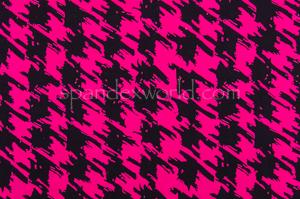 Houndstooth  Print  Spandex (Fuchsia/Black)