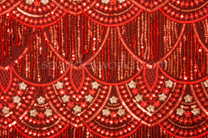 Non Stretch Sequins (Red/Gold)