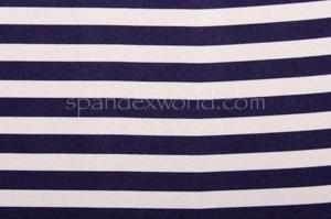Printed Strips Spandex(White/Navy)