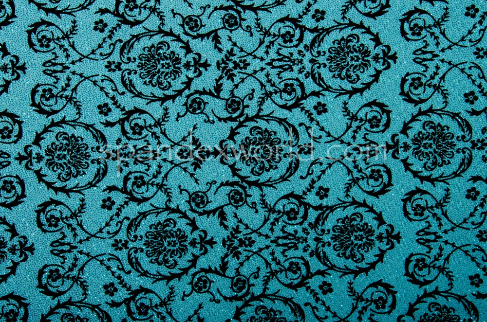Glitter/Pattern Mesh (Turquoise/Black)