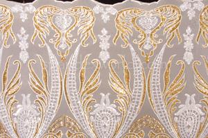 Non Stretch Sequins (White/Gold/White)