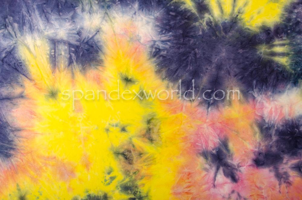 Tie dye spandex (Yellow/Navy/Multi)