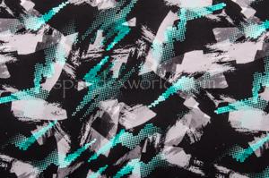Abstract Print  Spandex (Black/AquaMulti)
