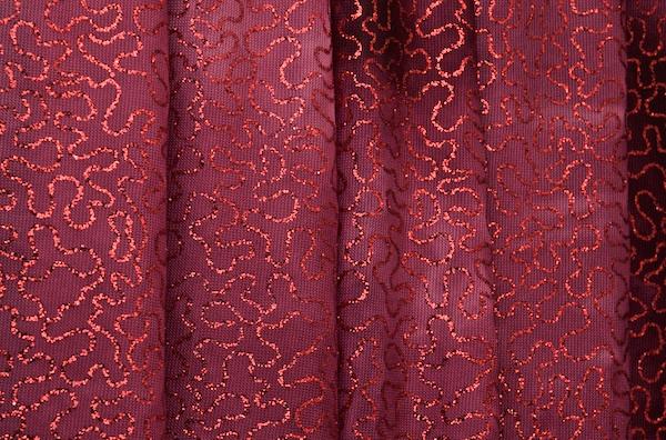 Sheer Glitter/Pattern  (Burgundy)