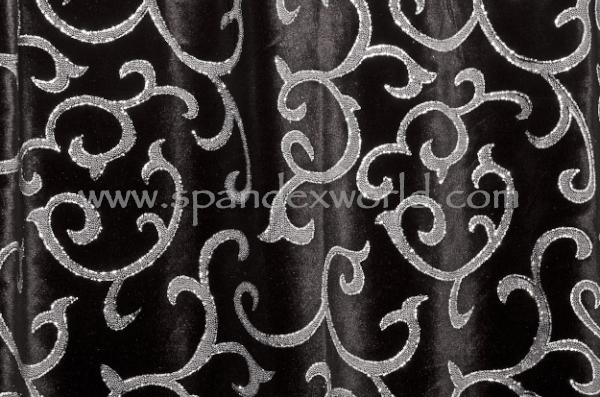 Glitter/Pattern Stretch Velvet (Black/White/Silver)