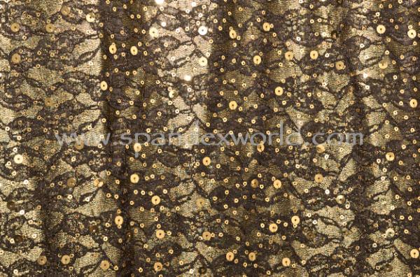 Non-Stretch Sequins (Black/Gold)