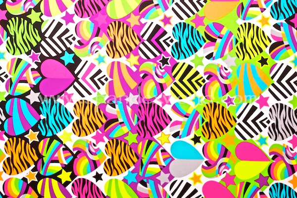 Heart Printed Spandex (White/Neon/Multi)