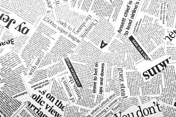 News Paper Printed Spandex (Black/White)