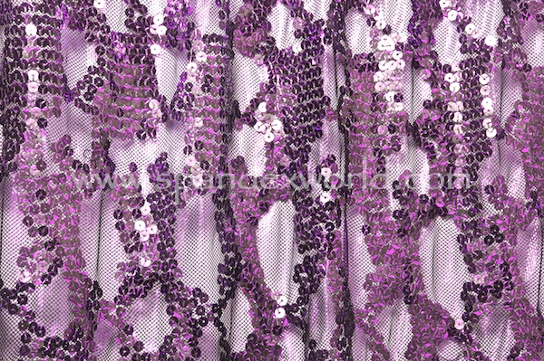 Stretch Sequins Lace (Black/Black/Purple)