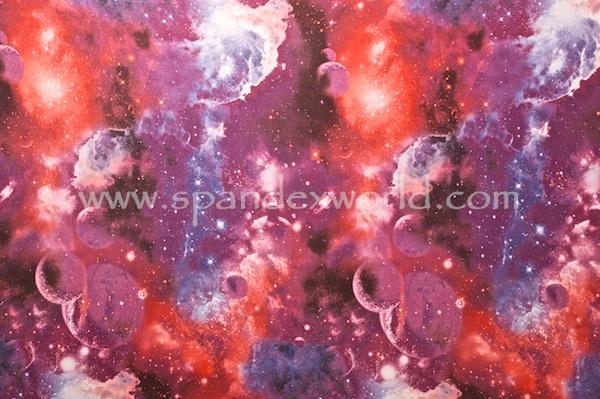 Printed Spandex (Red/Magenta Galaxy Combo)