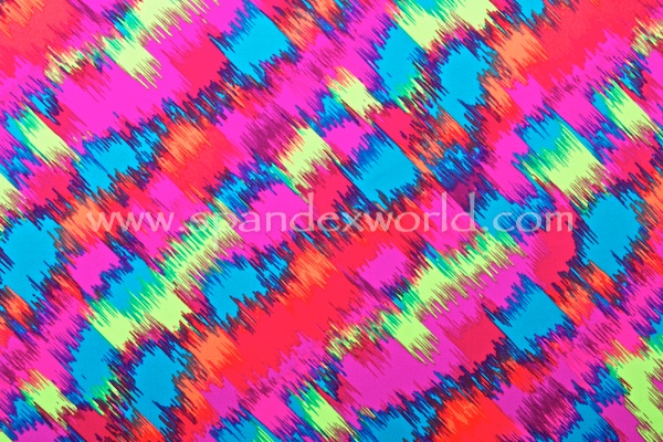 Abstract Print Spandex (Turquoise/Lime/Orange/Multi)