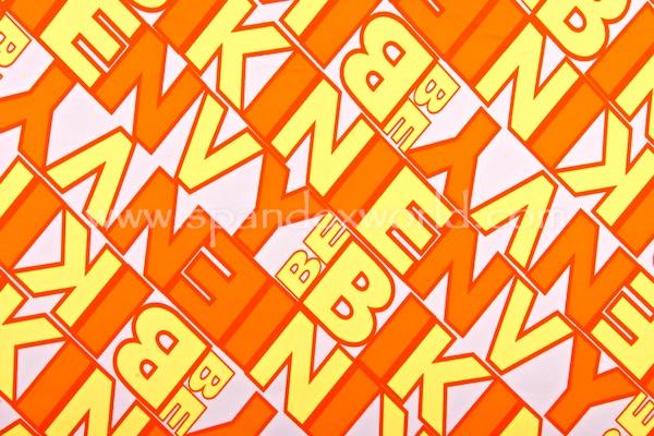 Printed Spandex (White/Orange/Yellow)