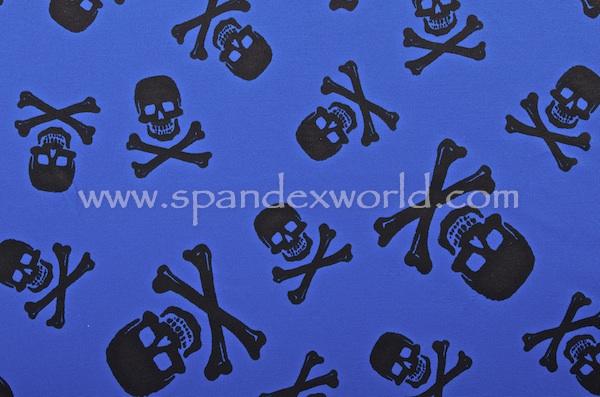 Printed Spandex (Royal Blue/Black)