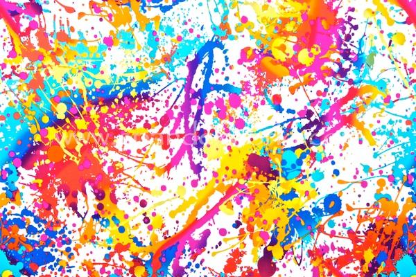 Splash Print Spandex (White/Orange/Blue/Multi)