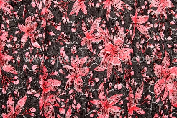 Stretch Metallic Lace (Black/Red/Silver)