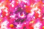 Printed Spandex (Orange/Pink Galaxy Combo)