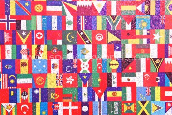 Pattern/Abstract Hologram (World Flags Print/Fuchsia Holo)