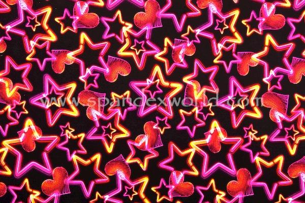 Printed Spandex (Black/Neon Pink/Orange/Multi)