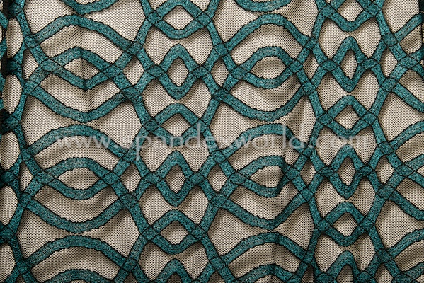 Stretch Lace (Black/Teal)