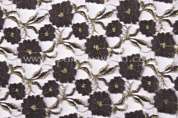 Stretch Metallic Lace (Black/Gold)