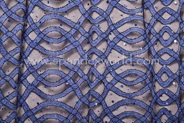 Stretch Sequins Lace (Black/Royal/Royal Holo)