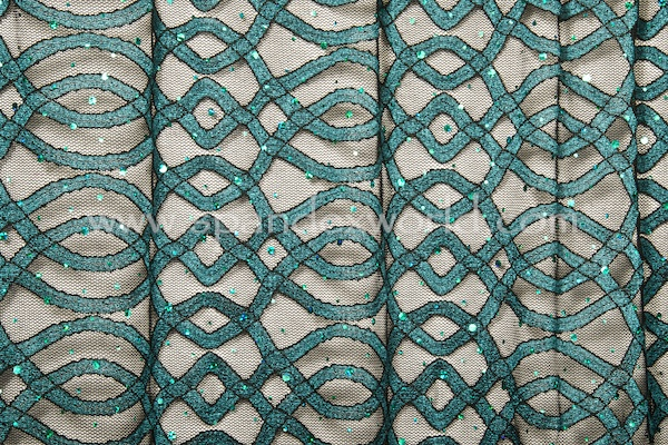 Stretch Sequins Lace (Black/Teal/Teal Holo)