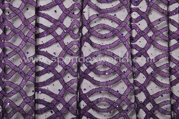 Stretch Sequins Lace (Black/Purple/Purple Holo)