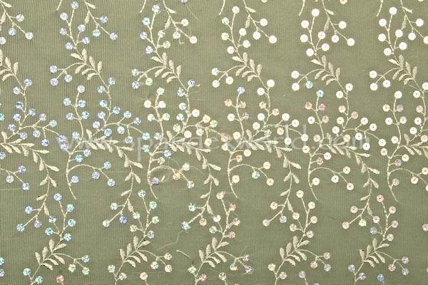 Non-Stretch Sequins Lace (Victorian Green/Silver Sparkle)