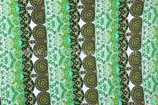 Printed Cotton Lycra® (Green/Black/Multi)