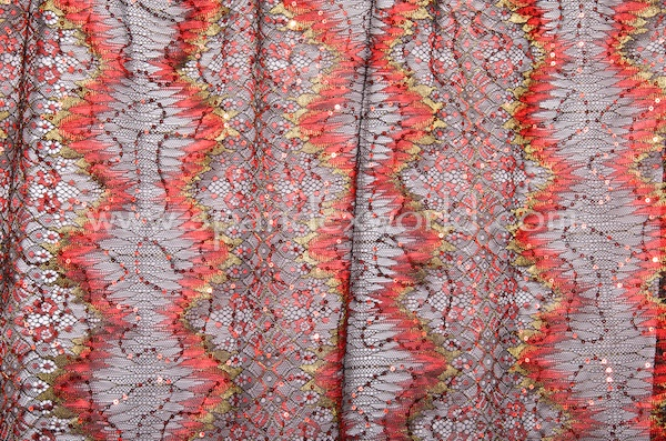 Non-Stretch Sequins Lace (Red/Red/Multi)