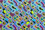 Abstract Print Spandex (Black/Turquoise/Yellow/Multi)
