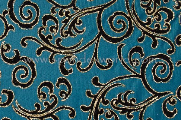 Glitter/Pattern Mesh (Turquoise/Gold/Black)