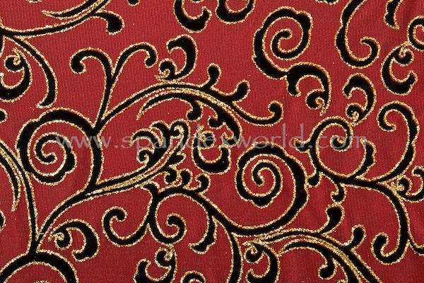Glitter/Pattern Mesh (Red/Gold/Black)