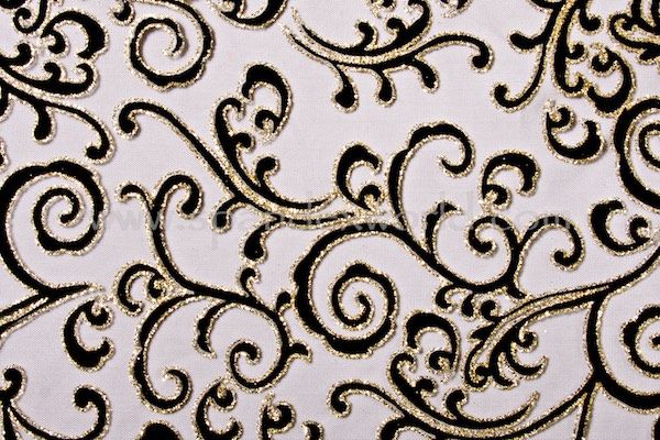Glitter/Pattern Mesh (Black/Gold/Black)