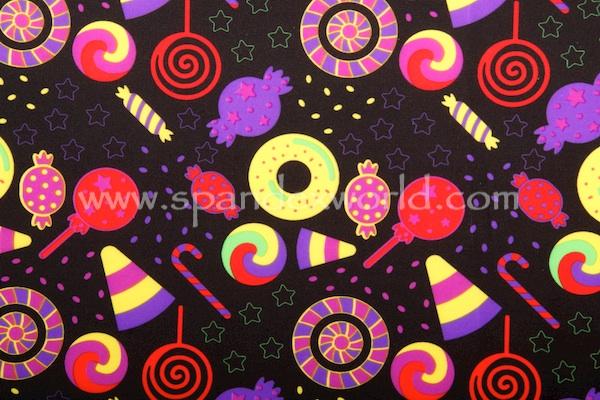 Printed Spandex (Black/Purple/Multi)