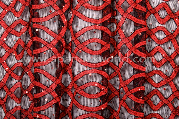 Stretch Sequins Lace (Black/Red/Red Holo)