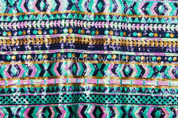 Non-Stretch Sequins (Teal/Navy/Multi)