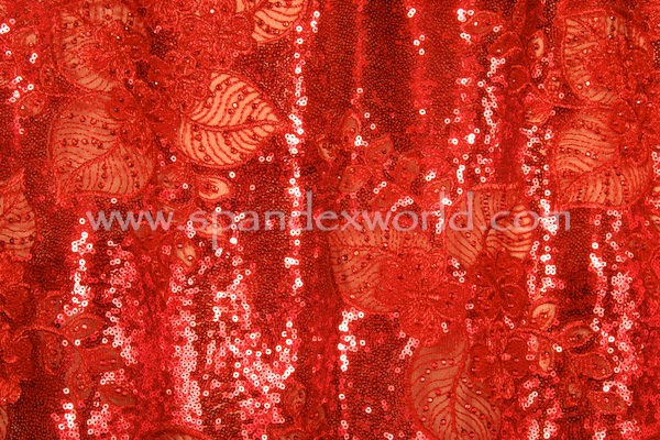 Non-Stretch Sequins(Red/Red)