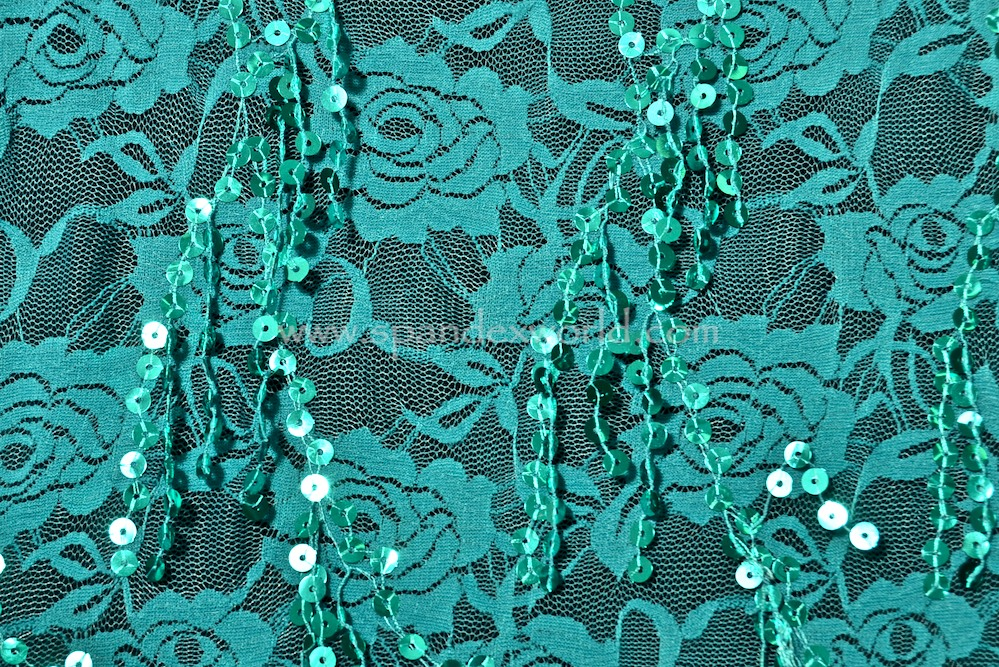 Stretch Sequins Lace (Teal/Teal)